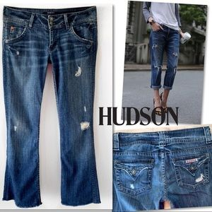 Hudson crop Distressed cut hem ankle Jean SZ 28